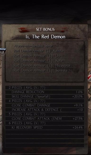 The Red Demon Set cũng tương tự như WOTW nhưng hỗ trợ nguyên tố Hỏa - khi đối thủ dính hiệu ứng hỏa, sát thương sẽ tăng lên 30%!