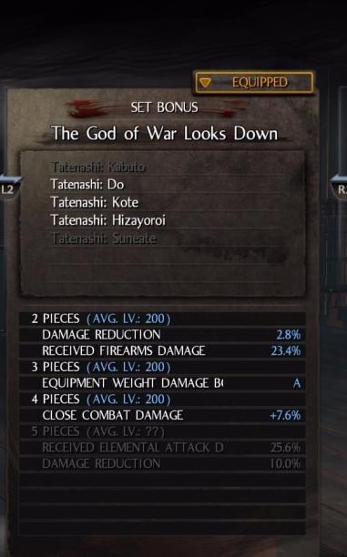 Với Tanetashi chúng ta có thêm Equipment Weight Damamge Bonus, do cả hai set đều là giáp nặng, lượng sát thương tăng lên khá đáng kể tạo ra sự cân bằng giữa tấn công và phòng thủ