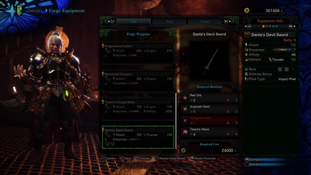 Monster Hunter World Charge Blade - Dante's Devil Sword